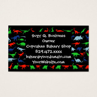 Dinosaur Pattern Green Blue and Red on Black Business Card