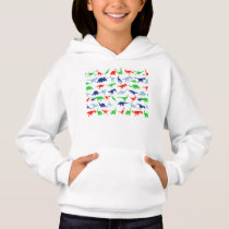 Dinosaur Pattern Green Blue and Red on Black Hoodie