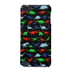 Dinosaur Pattern Green Blue And Red On Black Ipod Touch (5th Generation) Cover at Zazzle
