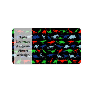 Dinosaur Pattern Green Blue and Red on Black Label