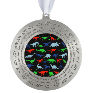 Dinosaur Pattern Green Blue and Red on Black Pewter Ornament