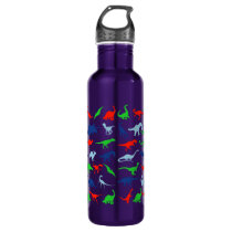 Dinosaur Pattern Green Blue and Red on Black Stainless Steel Water Bottle