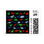 Dinosaur Pattern Green Blue and Red on Black Stamp