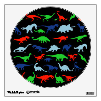 Dinosaur Pattern Green Blue and Red on Black Wall Skins