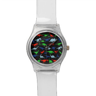 Dinosaur Pattern Green Blue and Red on Black Wrist Watch