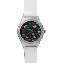 Dinosaur Pattern Green Blue and Red on Black Wristwatch