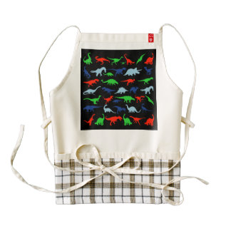 Dinosaur Pattern Green Blue and Red on Black Zazzle HEART Apron