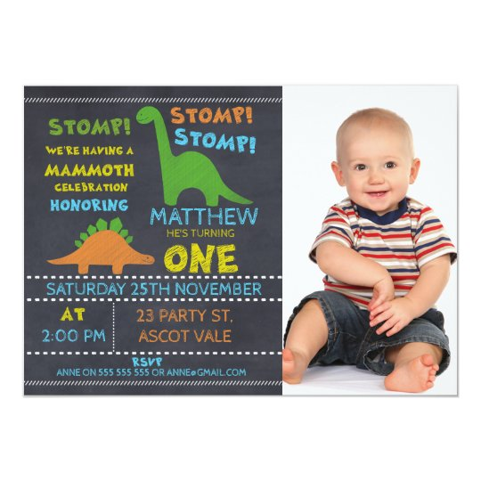 Dinosaur photo chalkboard 1st birthday invitation zazzle dinosaur photo chalkboard 1st birthday invitation filmwisefo