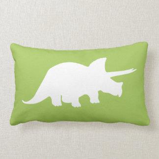 Dinosaur Pillow in Green with Grey Chevron Stripes