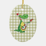 dinosaur playing guitar Double-Sided oval ceramic christmas ornament