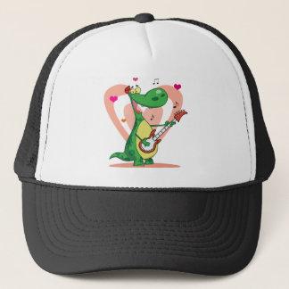 Dinosaur Plays Guitar with Heart Background Trucker Hat
