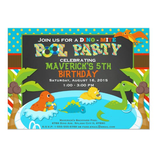 Dinosaur Pool Party Invitation  Birthday Party   Zazzle