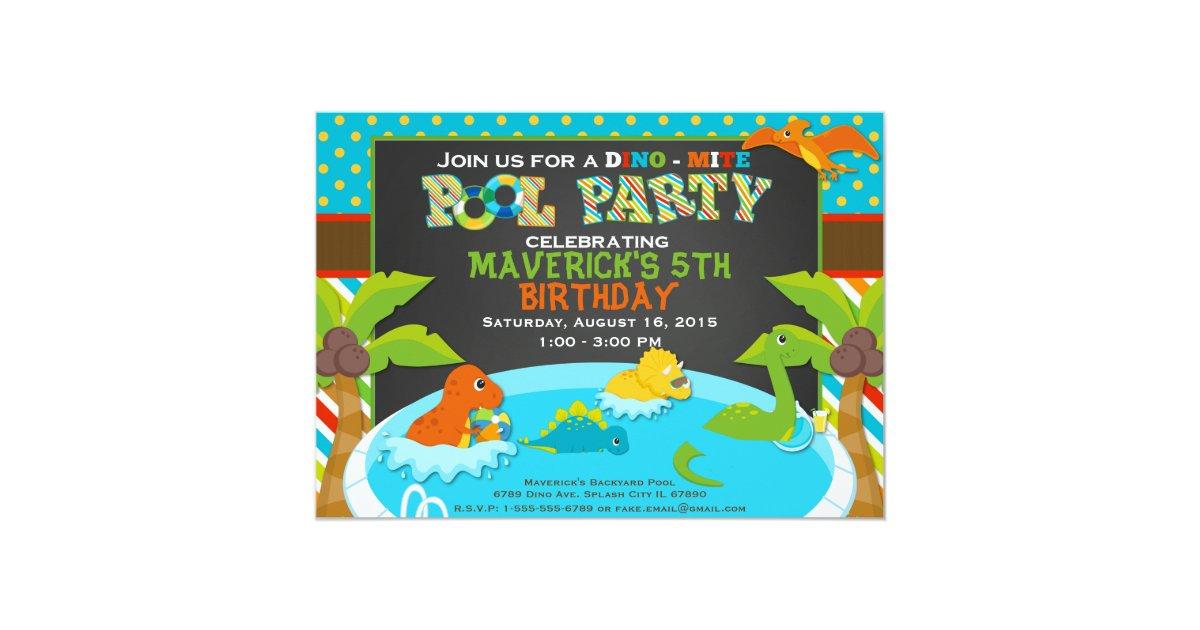 Dinosaur Pool Party Invitation - Birthday Party - | Zazzle.com