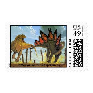 Dinosaur Postage Allosaurus vs. Stegosaurus