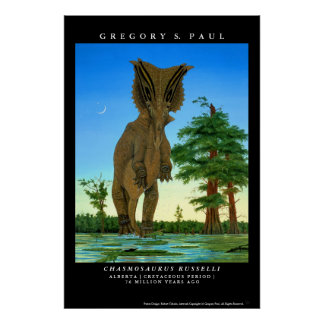 Dinosaur Poster Chasmosaurus Gregory Paul