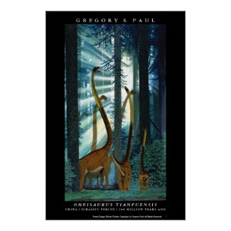 Dinosaur Poster Omeisaurus Gregory Paul