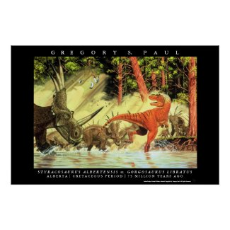 Dinosaur Poster Styracosaurs Gorgosaurus Greg Paul