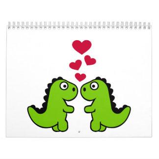 Dinosaur red hearts love calendar