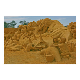 Dinosaur Sand Castle Sculptures Dinostory Posters