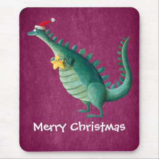 Dinosaur - Santa Claus Helper Mouse Pad