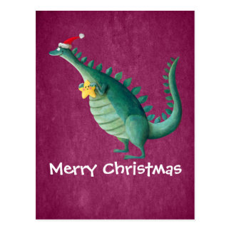 Dinosaur - Santa Claus Helper Postcard