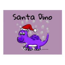 Dinosaur Santa Dino Snowed in Postcard