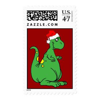 dinosaur Santa Postage Stamp