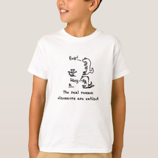 Dinosaur scares his food. T-Shirt