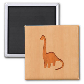 Dinosaur silhouette engraved on wood design 2 inch square magnet