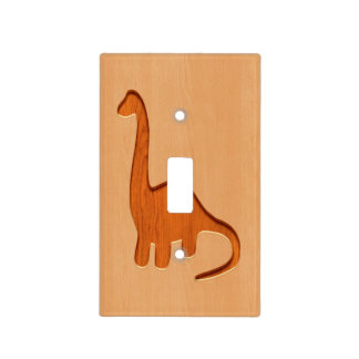 Dinosaur silhouette engraved on wood design light switch cover