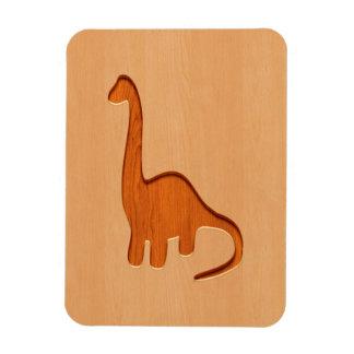 Dinosaur silhouette engraved on wood design rectangular photo magnet