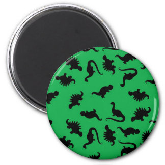 Dinosaur Silhouettes on Green Background Pattern 2 Inch Round Magnet