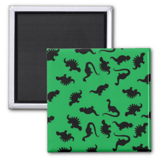 Dinosaur Silhouettes on Green Background Pattern 2 Inch Square Magnet