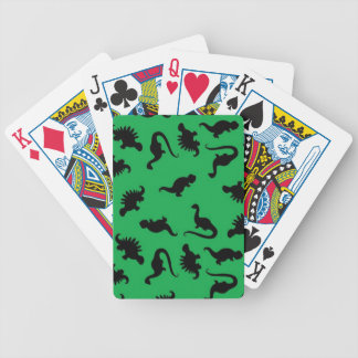 Dinosaur Silhouettes on Green Background Pattern Bicycle Playing Cards