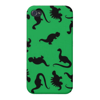 Dinosaur Silhouettes on Green Background Pattern Case For iPhone 4