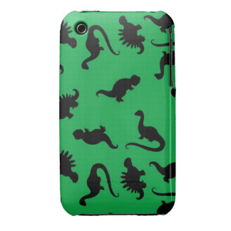Dinosaur Silhouettes on Green Background Pattern Case-Mate iPhone 3 Case