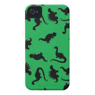 Dinosaur Silhouettes on Green Background Pattern iPhone 4 Case