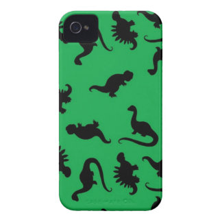 Dinosaur Silhouettes on Green Background Pattern iPhone 4 Case-Mate Case