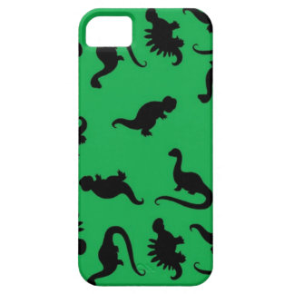 Dinosaur Silhouettes on Green Background Pattern iPhone SE/5/5s Case