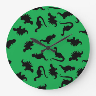Dinosaur Silhouettes on Green Background Pattern Large Clock