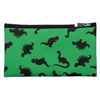 Dinosaur Silhouettes on Green Background Pattern Makeup Bag