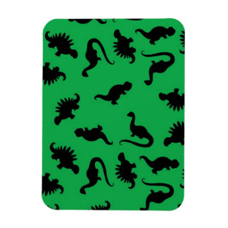 Dinosaur Silhouettes on Green Background Pattern Rectangular Photo Magnet