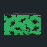 "Dinosaur Silhouettes on Green Background Pattern Wristlet<br><div class=""desc"">A cute dinosaur pattern I created using my hand illustrated dinosaurs and digitally manipulating them.</div>"