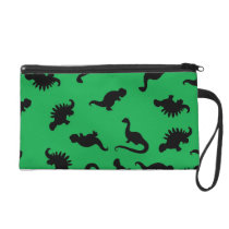 Dinosaur Silhouettes on Green Background Pattern Wristlet