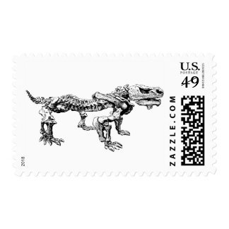 Dinosaur Skeleton Fossil Bones Dog Stamp