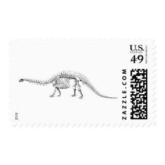 Dinosaur Skeleton Fossil Bones Vintage Stamp