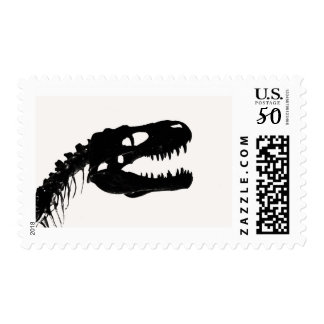 Dinosaur skull skeleton silhouette postage