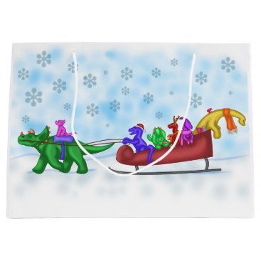 Beach Themed Dinosaur Sleigh Ride Large Gift Bag