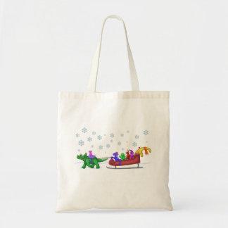 Dinosaur Sleigh Ride Tote Bag