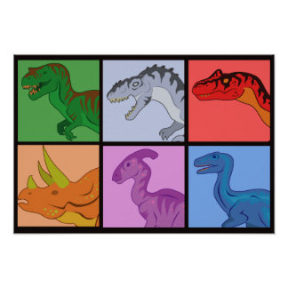 Dinosaur Squares Poster